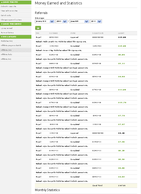 TLA Earnings Screenshot