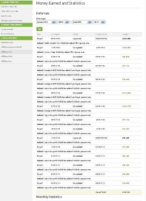 TLA Earnings Screenshot
