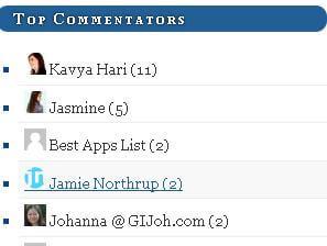 Top 5 Commentors Widget