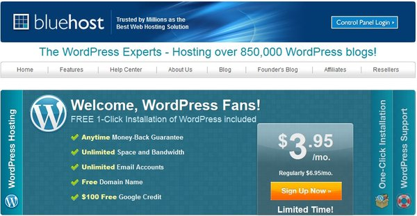 BlueHost WordPress Web Hosting Page