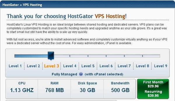 Hostgator VPS Hosting Plan with 768 MB RAM