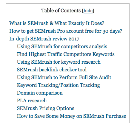 Table of contents plugin in action