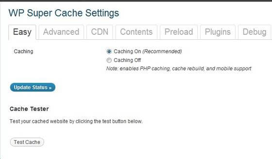 WP Super Caching ON OFF Button
