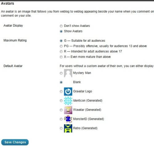 Gravatar Avatar Settings WordPress