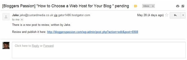 Guest Post Notification sent by Peter's Collaboration E-mails Plugin