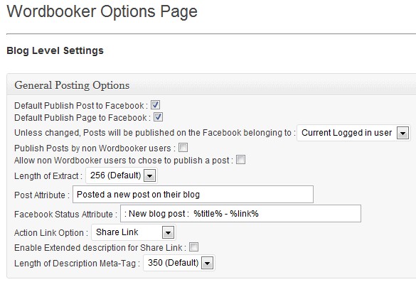 Wordbooker Plugin Blog Level Settings