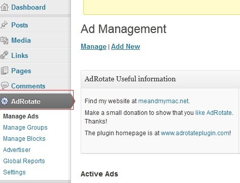 Access Ad Management Plugin from WordPress Dashboard