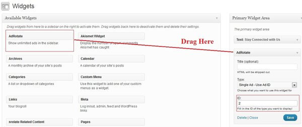 drag and Drop Adrotate widget from Available widget area to active widgets section
