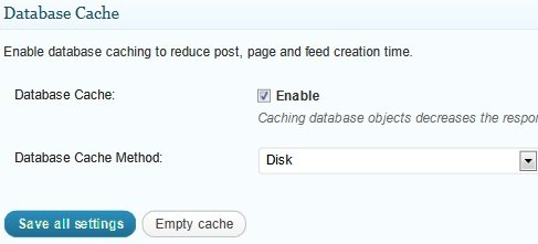 General Database Cache Settings