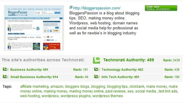 Bloggers Passion being Among Best 100 Small Business Blogs Technorati