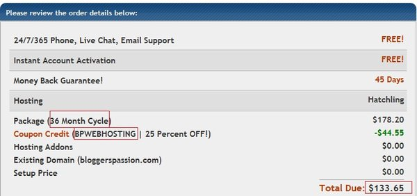 Hostgator 3 year Hosting Purchase screen with BPWEBHOSTING coupon code