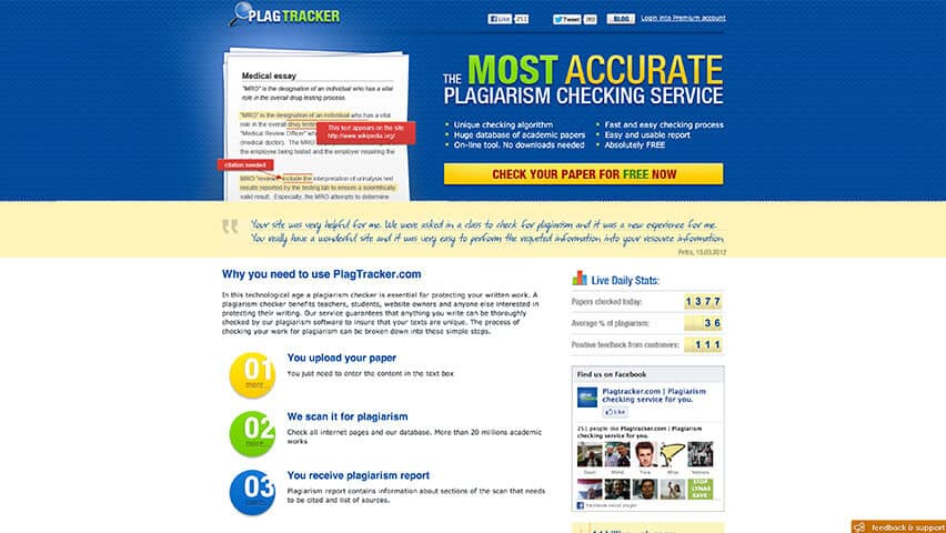 Plagiarism checking tool