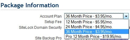 BlueHost Pricing information