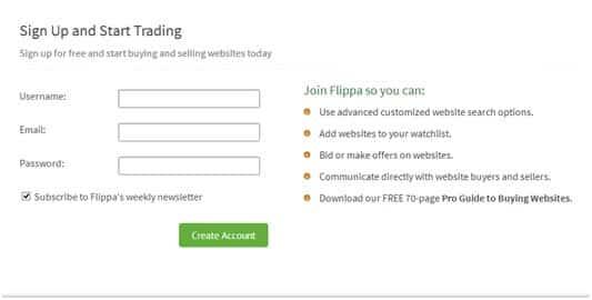 Flippa Signup process