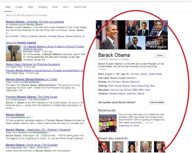 Google  Knowledge Graph Example Barack Obama