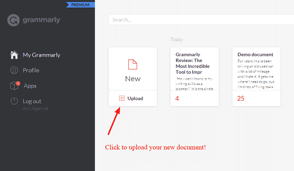 Grammarly dashboard