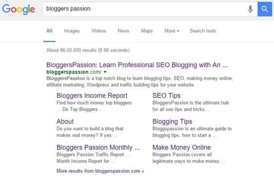 Google SiteLinks Bloggers Passion