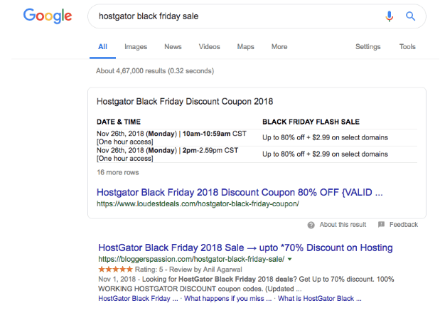 table featured snippet example
