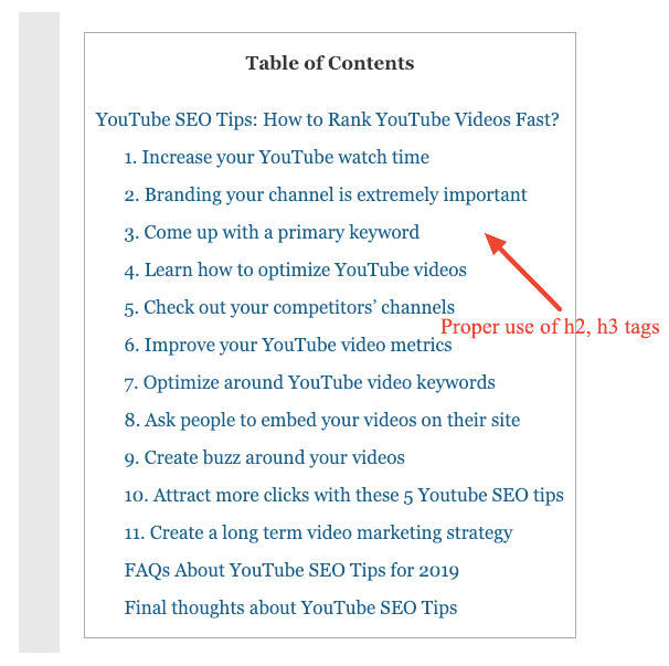 youtube seo table