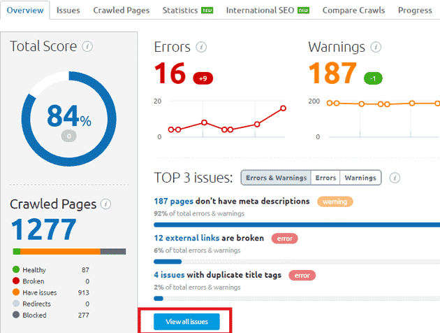 BloggersPassion Site Audit Report: SEMrush