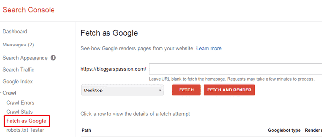 Use Fatch as Google Under Crawl from Webmaster Account