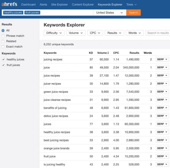 keywords explorer: Ahrefs