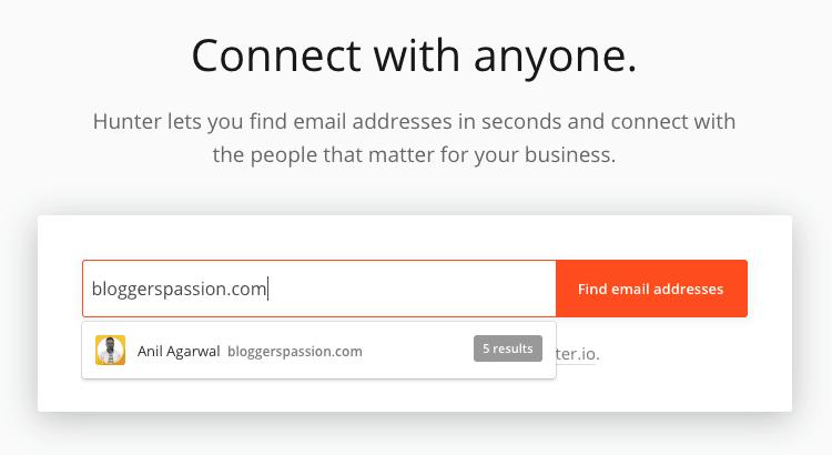 Email Hunter data