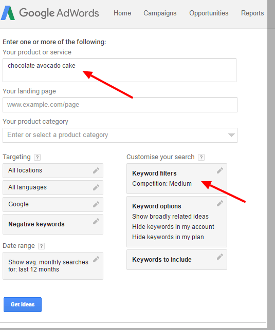 Google Keyword Planner: Keyword Ideas