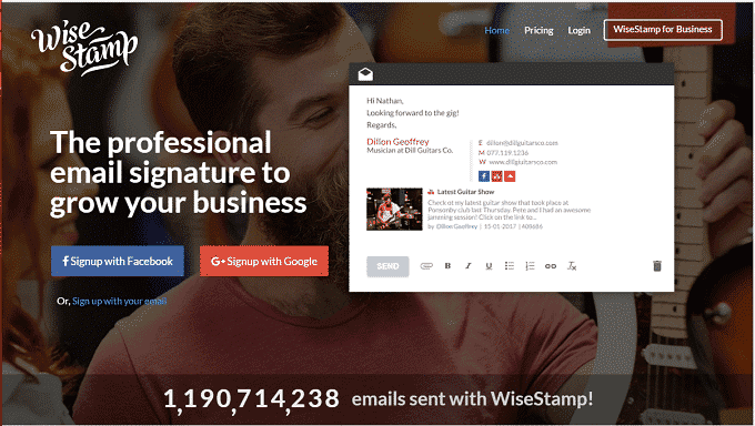 Create account in wisestamp