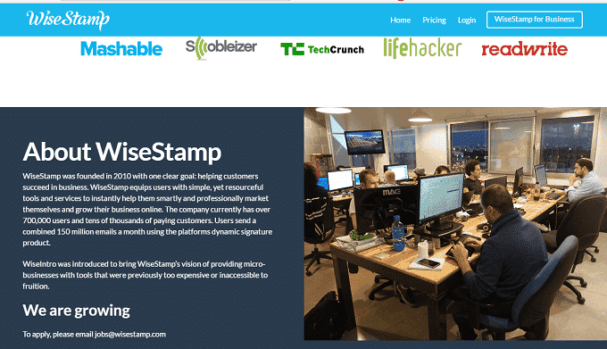 Wisestamp free email signature builder