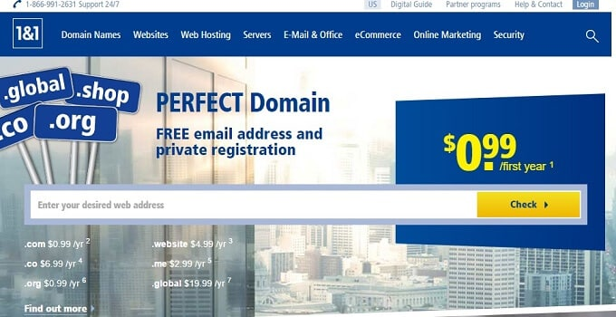 1and1.com Domains Services