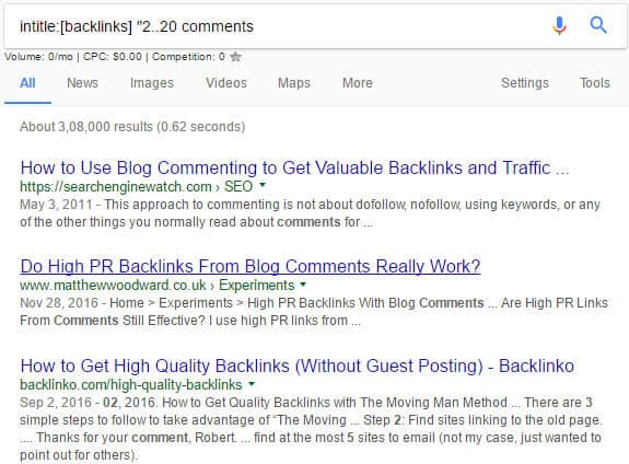 Finding relevant blogs for blog commentins