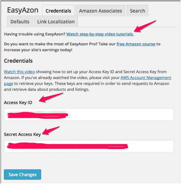 EasyAzon access key