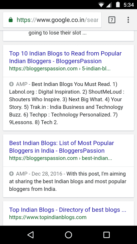 AMP Results for Bloggers Passion