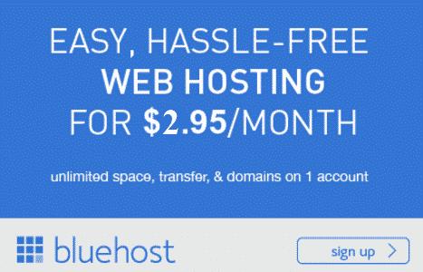 BlueHost WordPress Hosting - $2.95/month