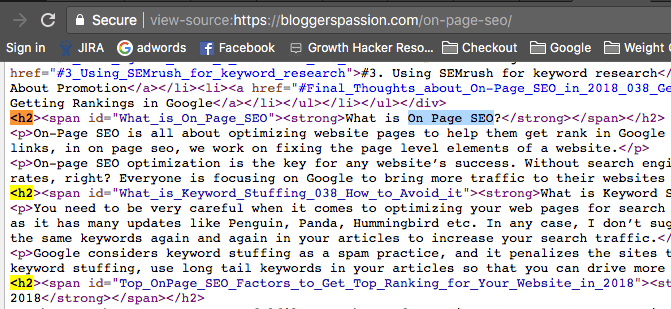 Use of Target Keyword in h2 tag