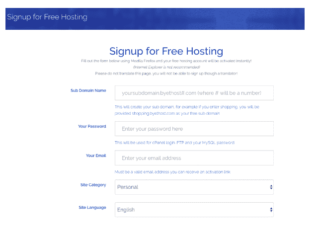 byet hosting