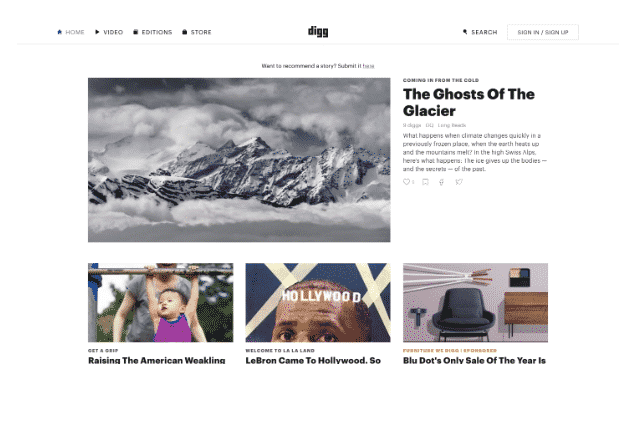digg bookmarking site