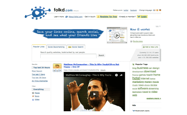folkd social bookmarking site
