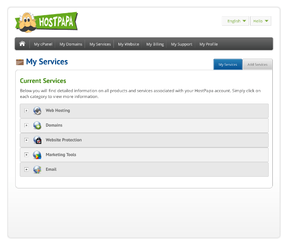 HostPapa dashboard