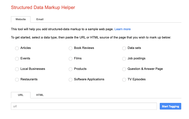 Google's Structure Data Markup Helper