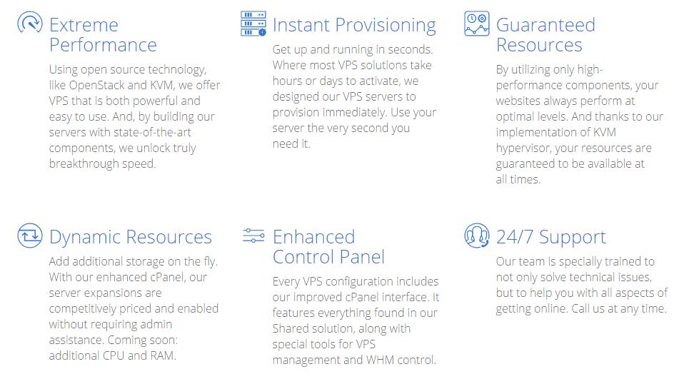 caratteristiche di bluehost vps