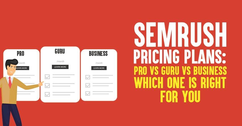 semrush Accounts pricing Comparison