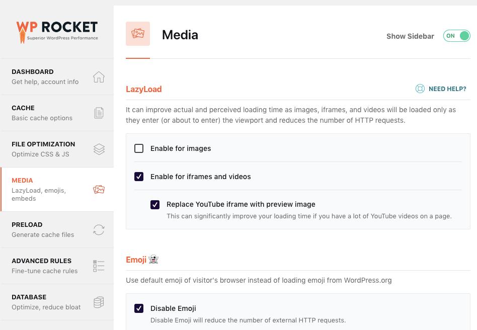 wp rocket media