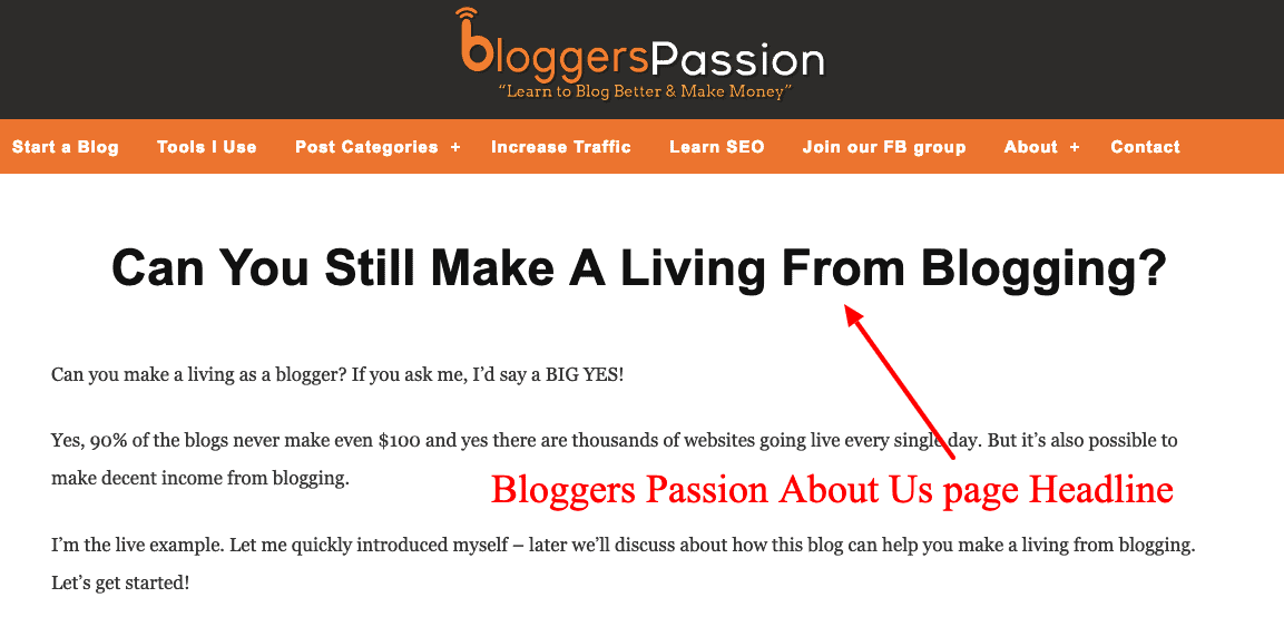 bloggers passion about page