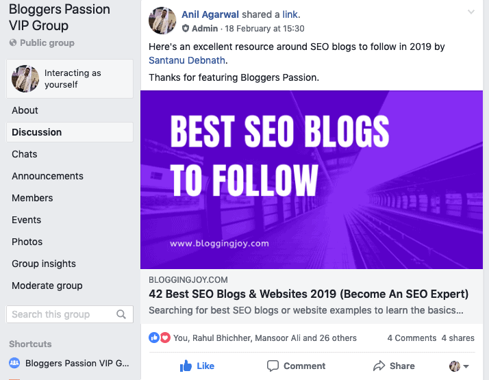 bloggers passion fb group