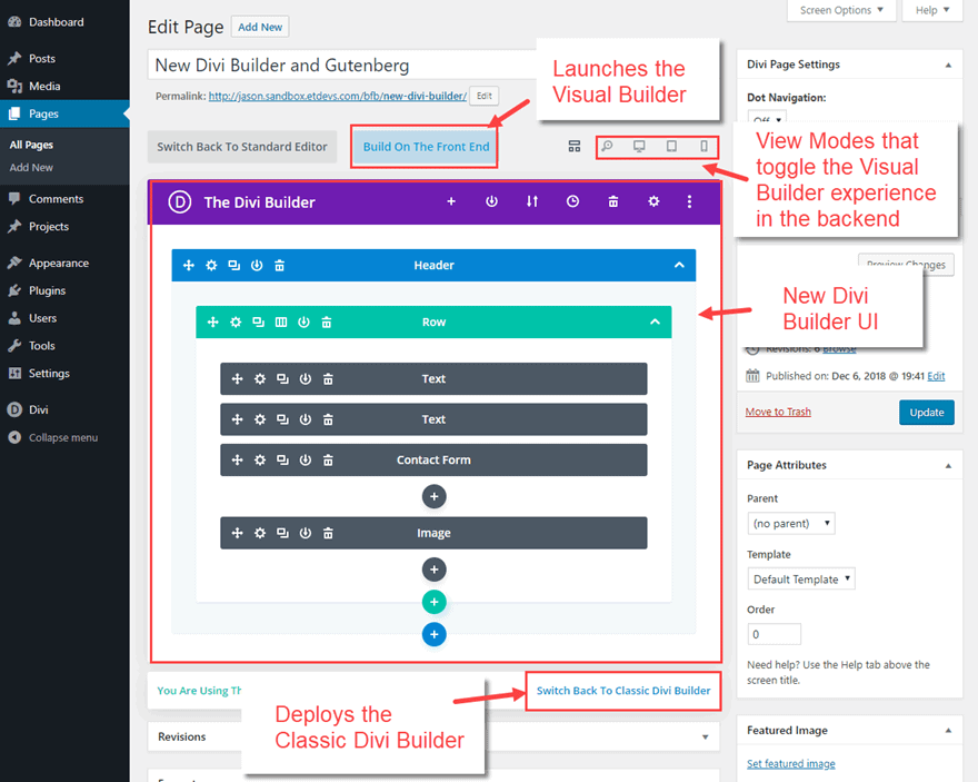 divi builder view