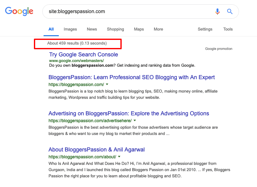 Bloggers Passion pages indexed in Google