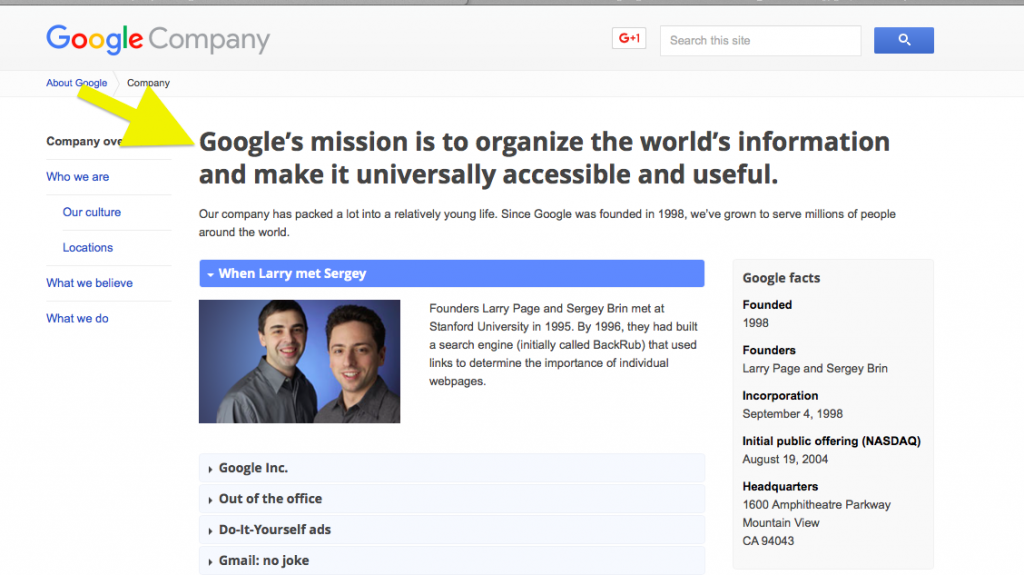 google mission and vision