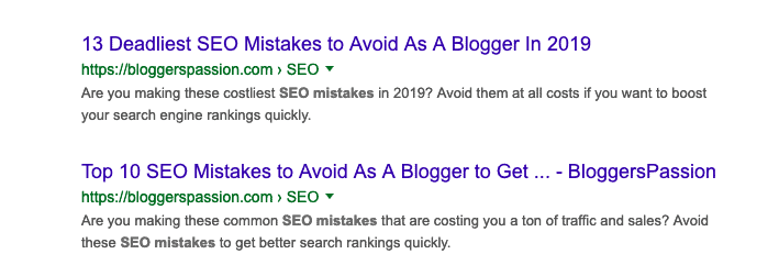 seo mistakes example